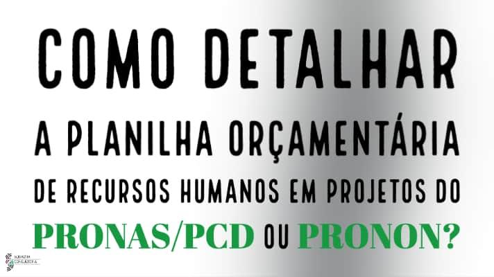 Como detalhar a planilha orcamentaria de Recursos Humanos em projetos do PRONAS PCD ou PRONON