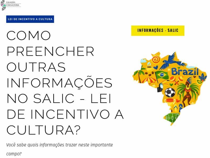 Como preencher outras informacoes no Salic - Lei de incentivo a cultura